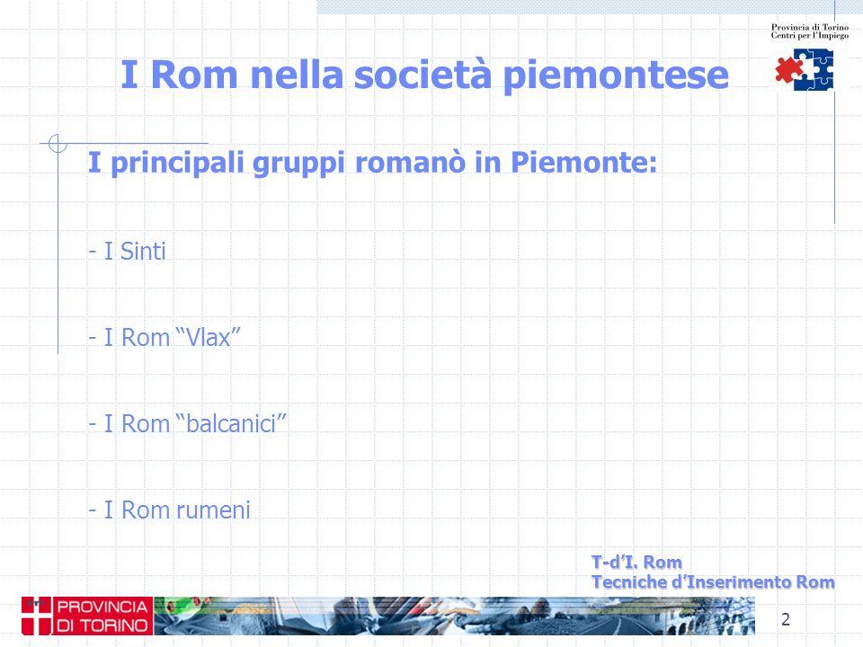 2 I Rom nella società piemontese T-dI. Rom Tecniche dInserimento Rom I principali gruppi romanò in Piemonte: - I Sinti - I Rom Vlax - I Rom balcanici