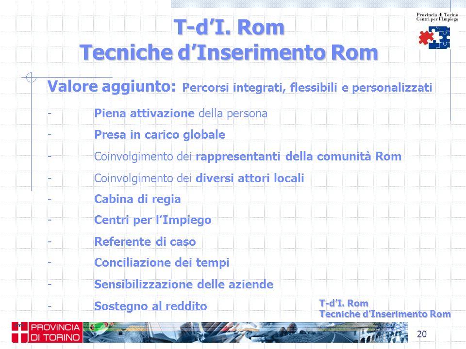 20 T-dI. Rom Tecniche dInserimento Rom Valore aggiunto: Percorsi integrati, flessibili e personalizzati - Piena attivazione della persona - Presa in c