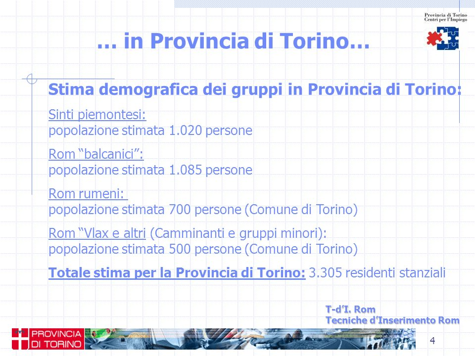 4 … in Provincia di Torino… T-dI. Rom Tecniche dInserimento Rom Stima demografica dei gruppi in Provincia di Torino: Sinti piemontesi: popolazione sti