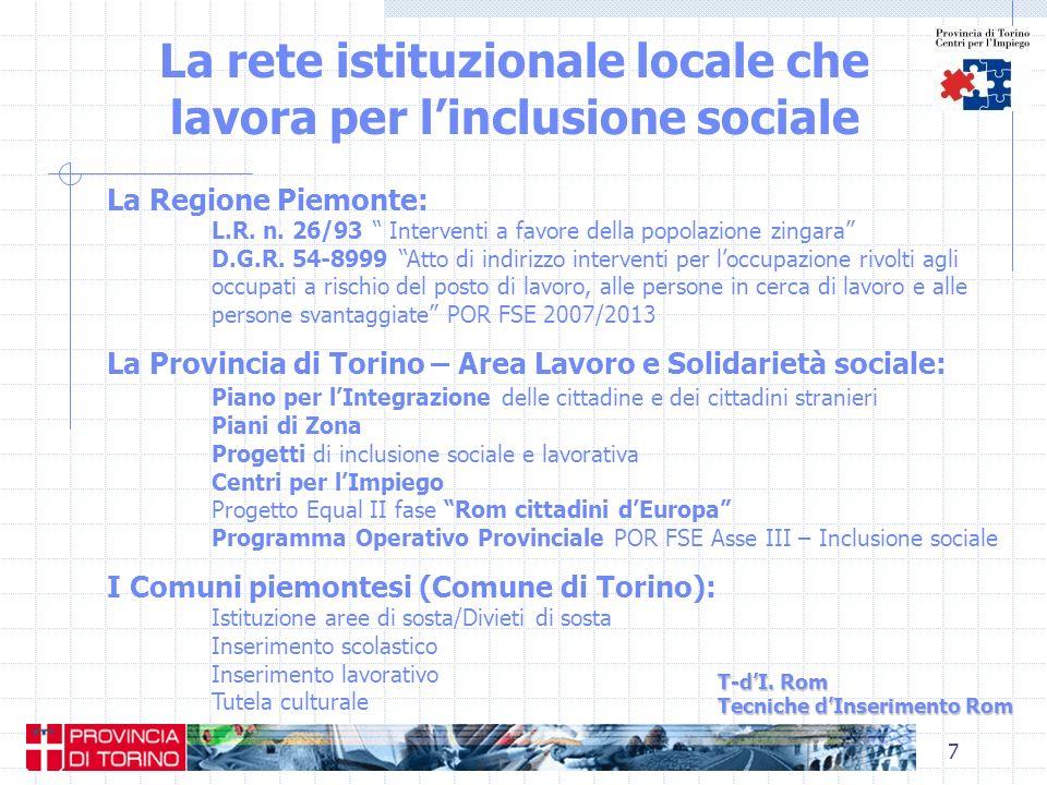 7 La rete istituzionale locale che lavora per linclusione sociale T-dI. Rom Tecniche dInserimento Rom La Regione Piemonte: L.R. n. 26/93 Interventi a