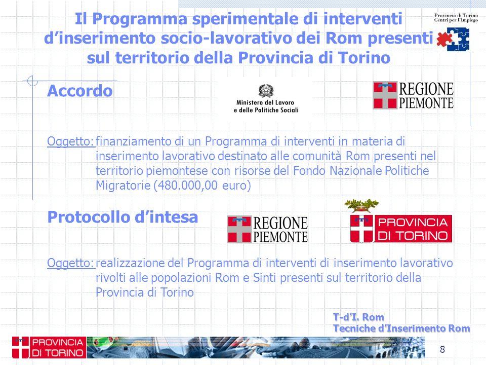 8 Il Programma sperimentale di interventi dinserimento socio-lavorativo dei Rom presenti sul territorio della Provincia di Torino T-dI. Rom Tecniche d