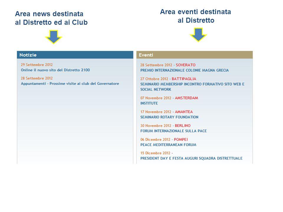 Area news destinata al Distretto ed ai Club Area eventi destinata al Distretto