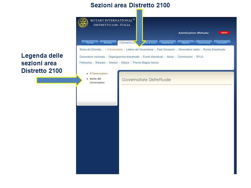 Legenda delle sezioni area Distretto 2100 Sezioni area Distretto 2100