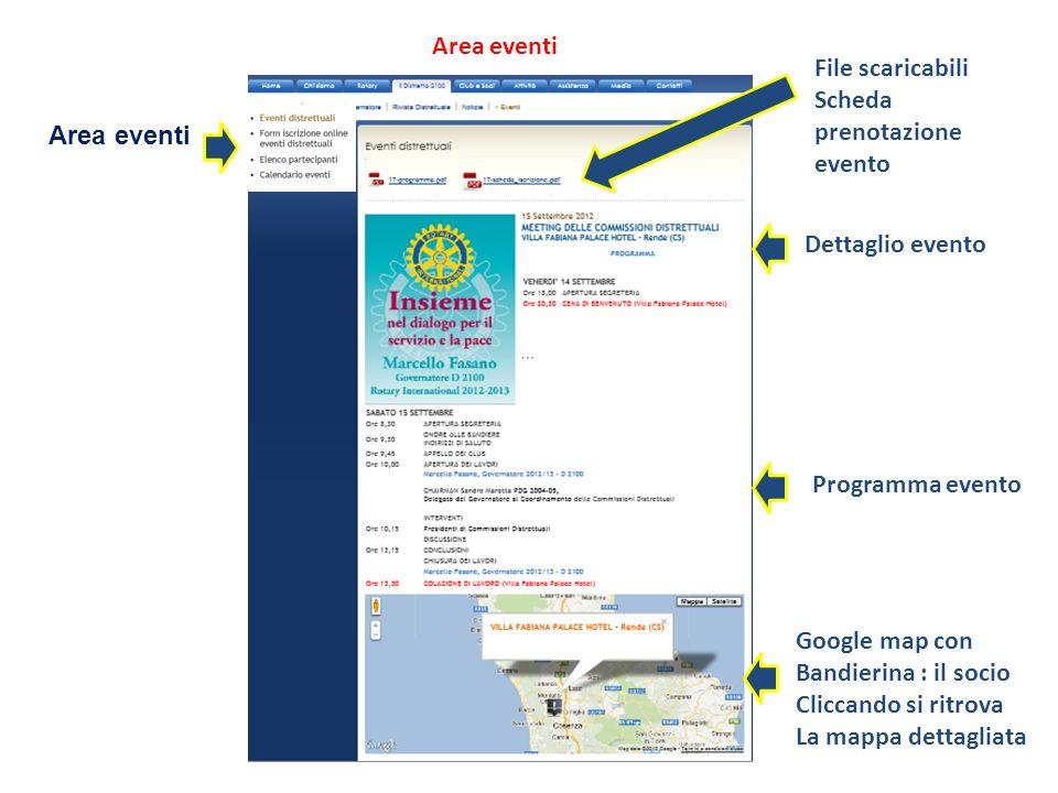 Area eventi Google map con Bandierina : il socio Cliccando si ritrova La mappa dettagliata Programma evento Dettaglio evento File scaricabili Scheda p