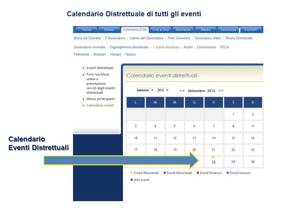 Calendario Distrettuale di tutti gli eventi Calendario Eventi Distrettuali