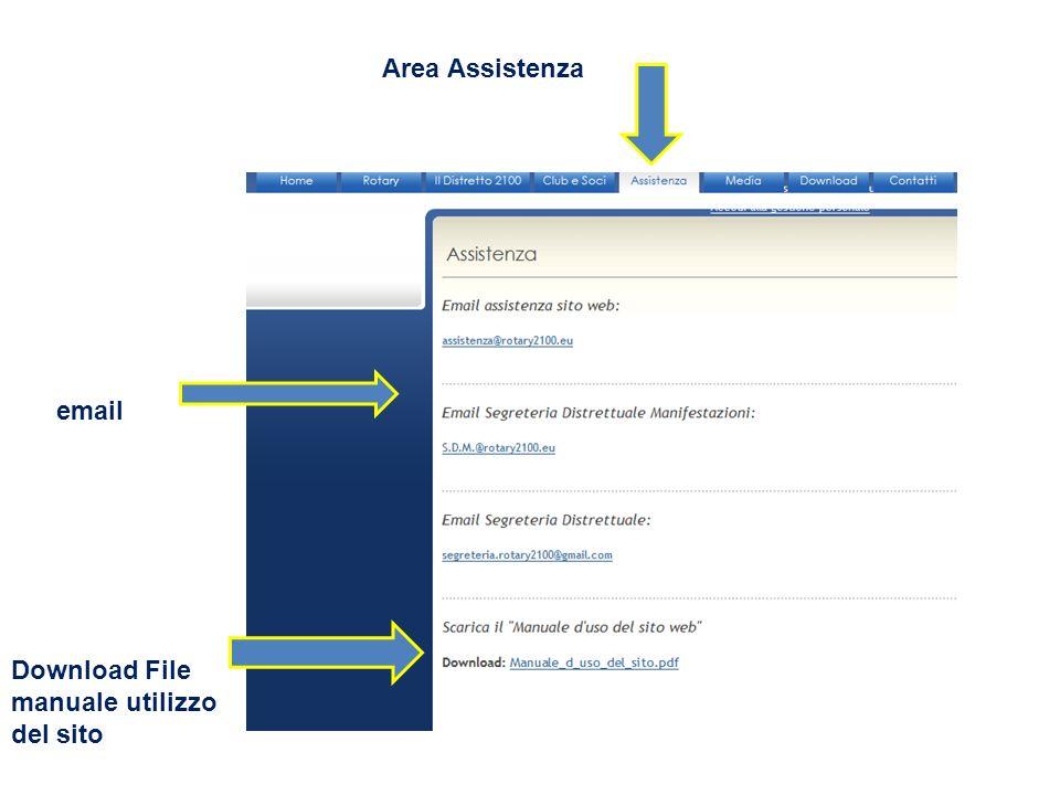 Area Assistenza Download File manuale utilizzo del sito email