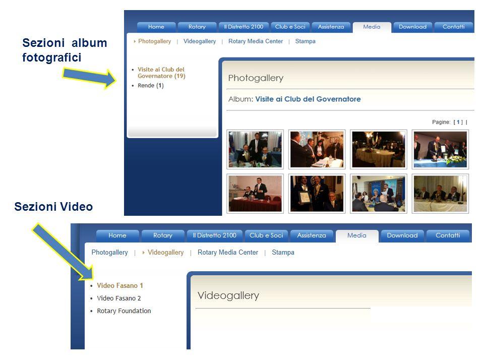 Sezioni album fotografici Sezioni Video