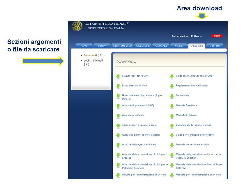 Sezioni argomenti o file da scaricare Area download