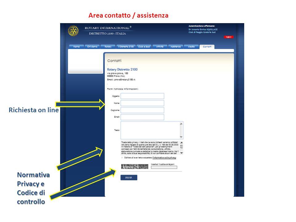 Area contatto / assistenza Richiesta on line Normativa Privacy e Codice di controllo
