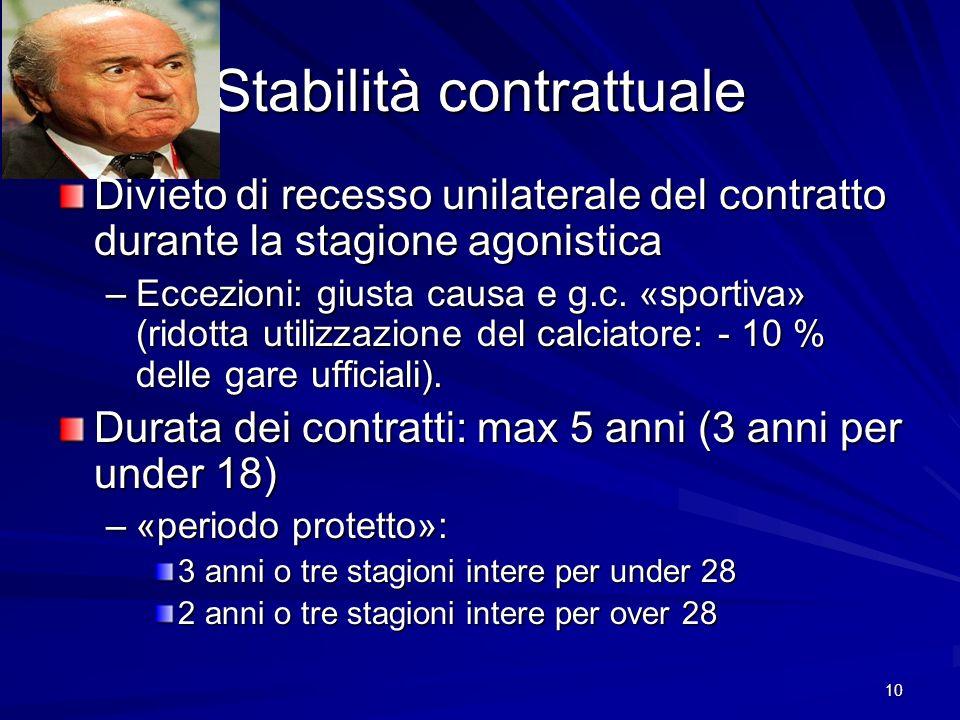 10 Stabilità contrattuale Divieto di recesso unilaterale del contratto durante la stagione agonistica –Eccezioni: giusta causa e g.c. «sportiva» (rido
