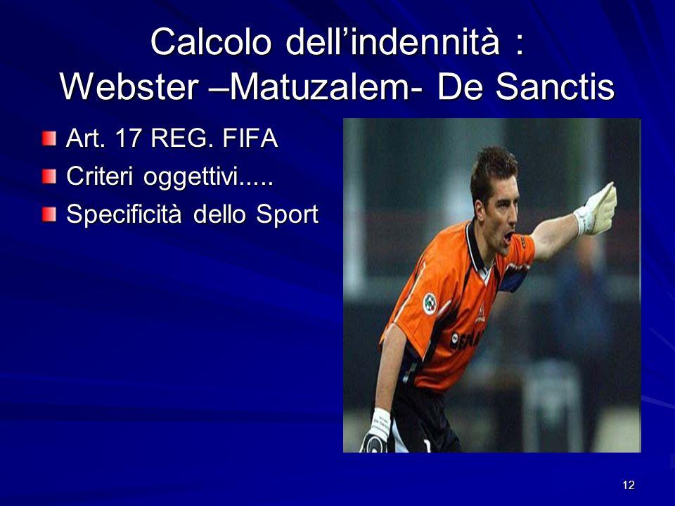 12 Calcolo dellindennità : Webster –Matuzalem- De Sanctis Art. 17 REG. FIFA Criteri oggettivi..... Specificità dello Sport