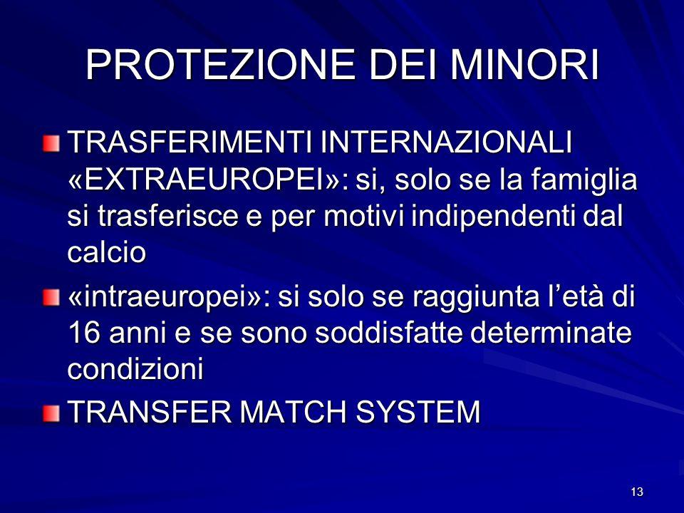 13 PROTEZIONE DEI MINORI TRASFERIMENTI INTERNAZIONALI «EXTRAEUROPEI»: si, solo se la famiglia si trasferisce e per motivi indipendenti dal calcio «int