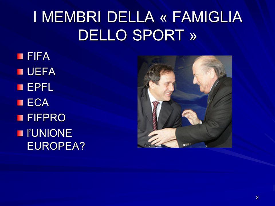 2 I MEMBRI DELLA « FAMIGLIA DELLO SPORT » FIFAUEFAEPFLECAFIFPRO lUNIONE EUROPEA?