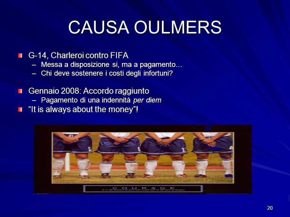 20 CAUSA OULMERS G-14, Charleroi contro FIFA –Messa a disposizione si, ma a pagamento… –Chi deve sostenere i costi degli infortuni? Gennaio 2008: Acco