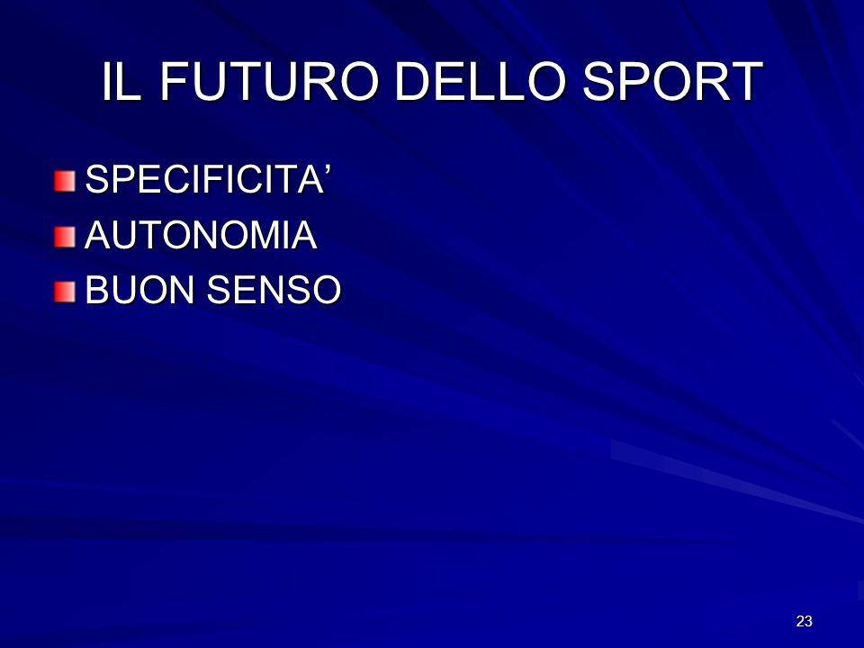 23 IL FUTURO DELLO SPORT SPECIFICITAAUTONOMIA BUON SENSO