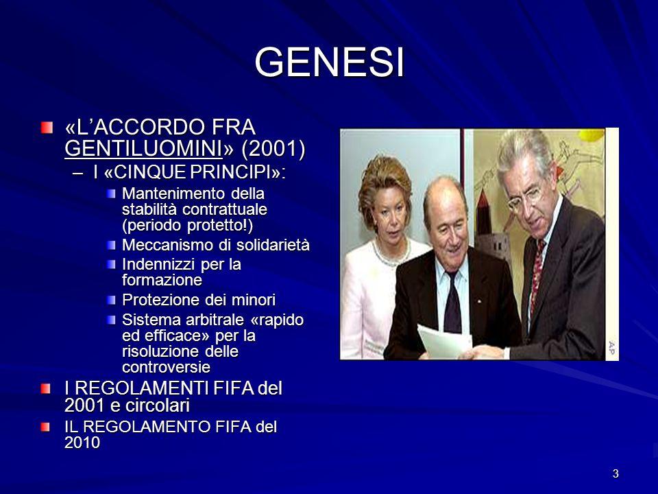 3 GENESI «LACCORDO FRA GENTILUOMINI» (2001) –I «CINQUE PRINCIPI»: Mantenimento della stabilità contrattuale (periodo protetto!) Meccanismo di solidari