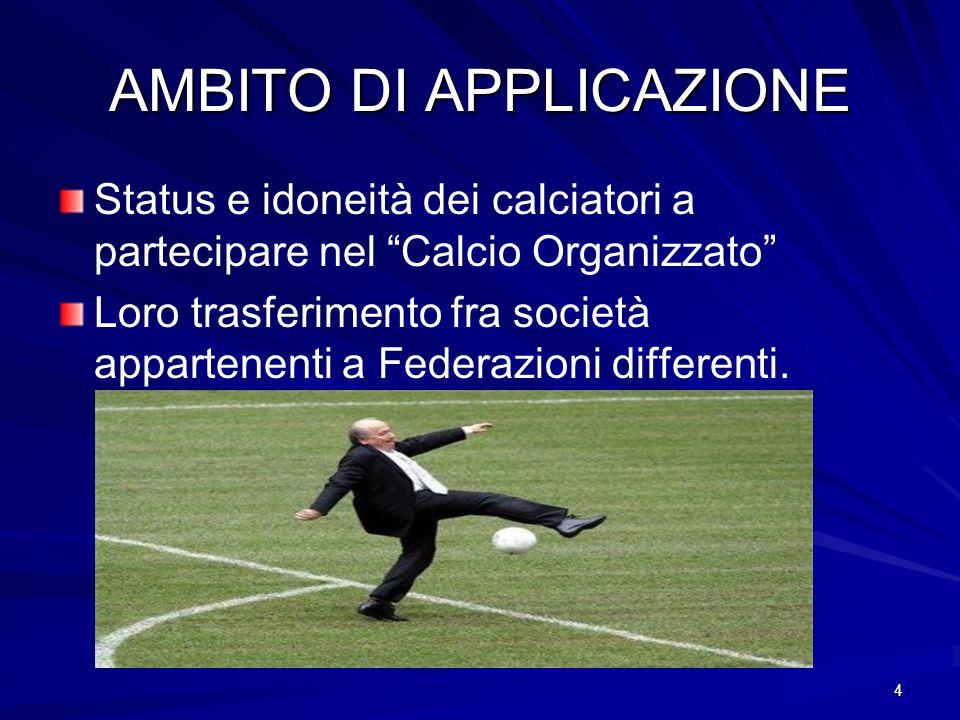4 AMBITO DI APPLICAZIONE Status e idoneità dei calciatori a partecipare nel Calcio Organizzato Loro trasferimento fra società appartenenti a Federazio