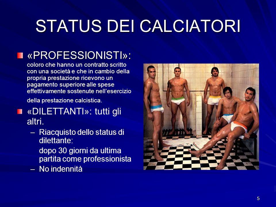 5 STATUS DEI CALCIATORI «PROFESSIONISTI»: «PROFESSIONISTI»: coloro che hanno un contratto scritto con una società e che in cambio della propria presta