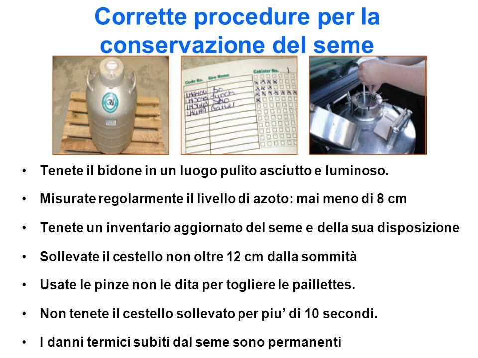 Corrette procedure per la conservazione del seme Tenete il bidone in un luogo pulito asciutto e luminoso. Misurate regolarmente il livello di azoto: m