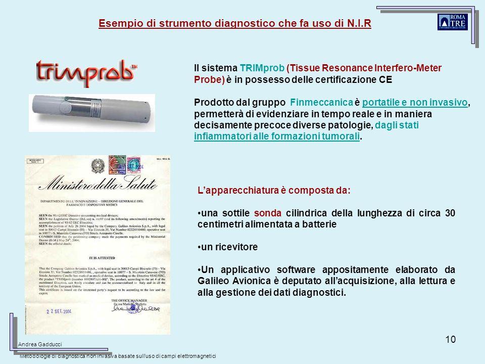 10 Esempio di strumento diagnostico che fa uso di N.I.R Prodotto dal gruppo Finmeccanica è portatile e non invasivo, permetterà di evidenziare in temp