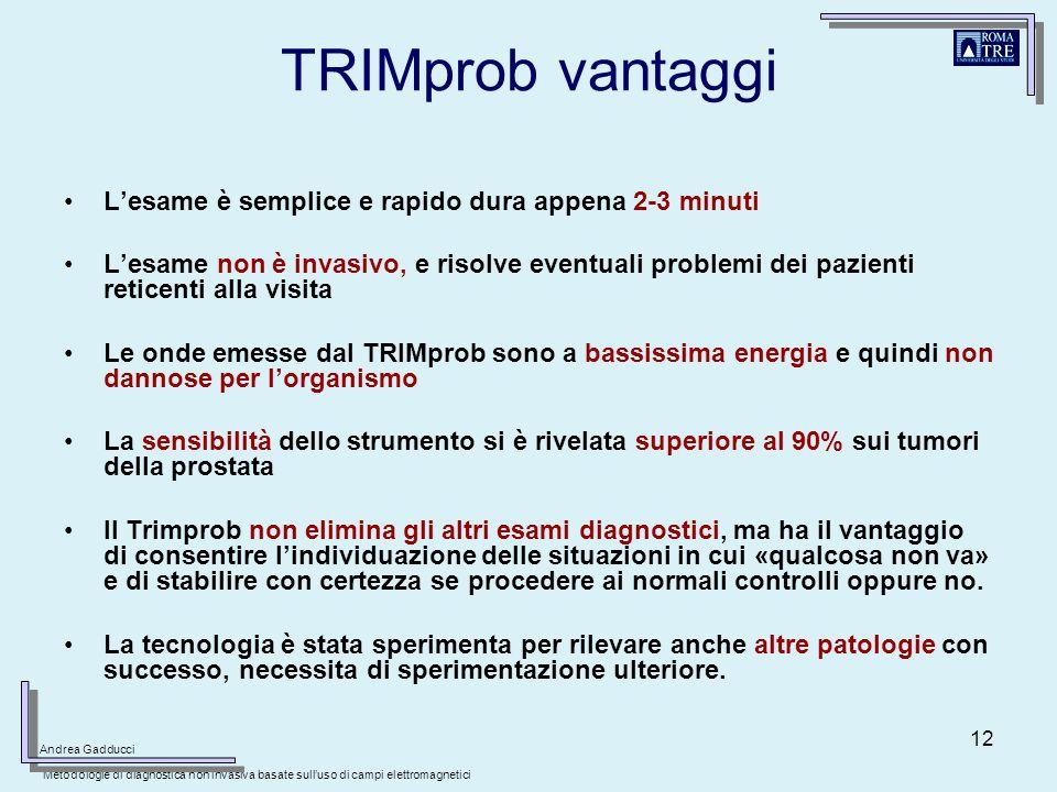 12 TRIMprob vantaggi Lesame è semplice e rapido dura appena 2-3 minuti Lesame non è invasivo, e risolve eventuali problemi dei pazienti reticenti alla