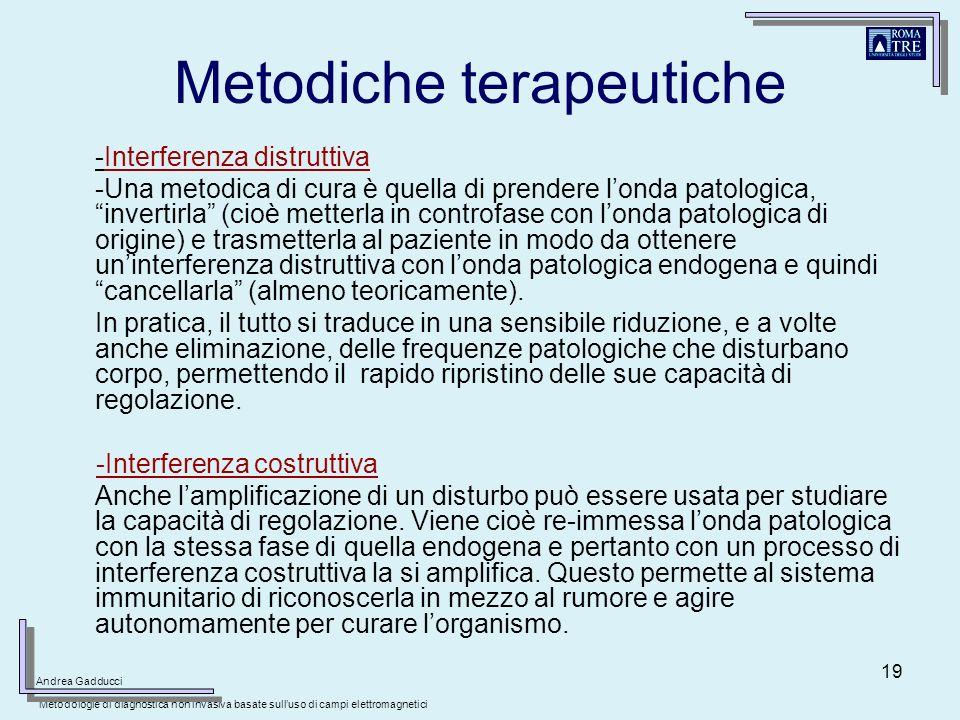 19 Metodiche terapeutiche -Interferenza distruttiva -Una metodica di cura è quella di prendere londa patologica, invertirla (cioè metterla in controfa