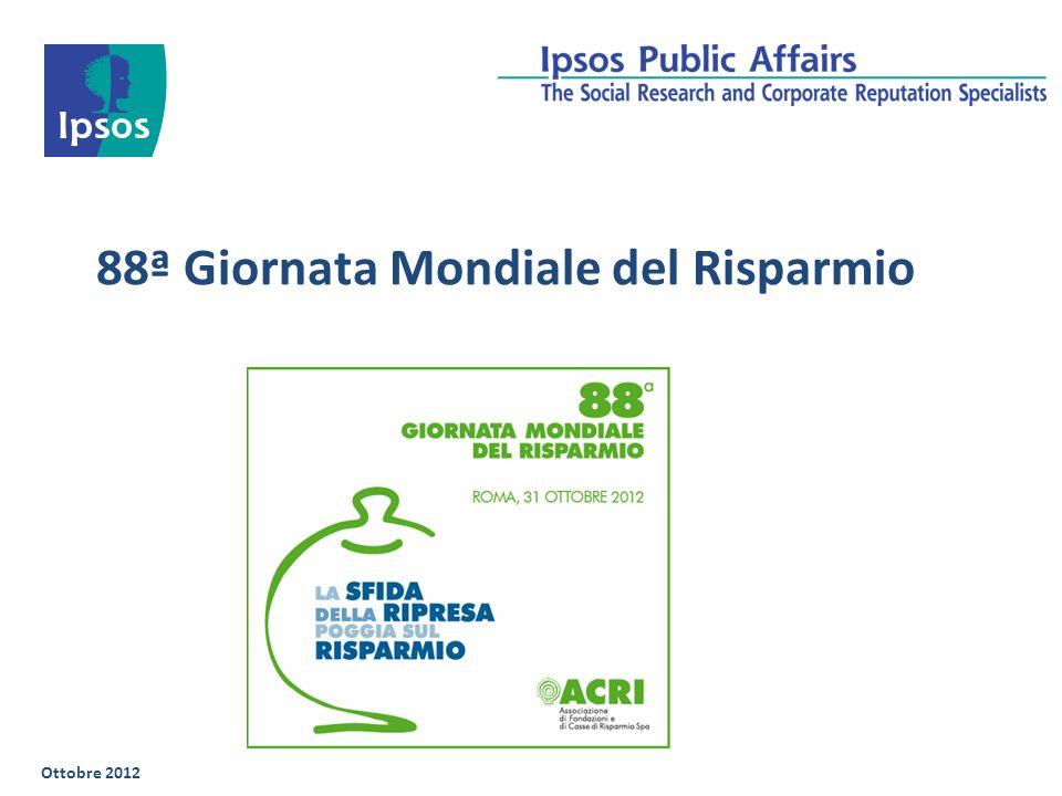 88ª Giornata Mondiale del Risparmio Ottobre 2012