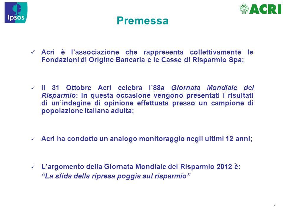 3 Premessa Acri è lassociazione che rappresenta collettivamente le Fondazioni di Origine Bancaria e le Casse di Risparmio Spa; Il 31 Ottobre Acri cele