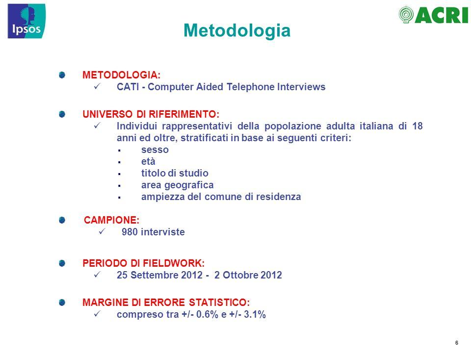6 Metodologia METODOLOGIA: CATI - Computer Aided Telephone Interviews CAMPIONE: 980 interviste PERIODO DI FIELDWORK: 25 Settembre 2012 - 2 Ottobre 201