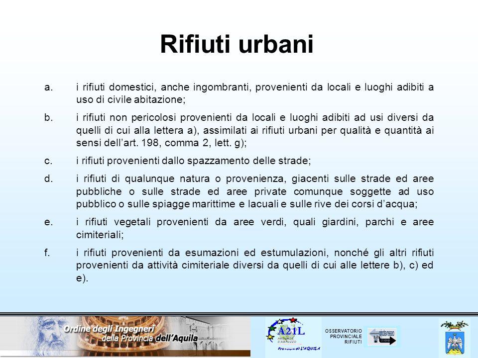 OSSERVATORIO PROVINCIALE RIFIUTI Rifiuti urbani a.i rifiuti domestici, anche ingombranti, provenienti da locali e luoghi adibiti a uso di civile abita