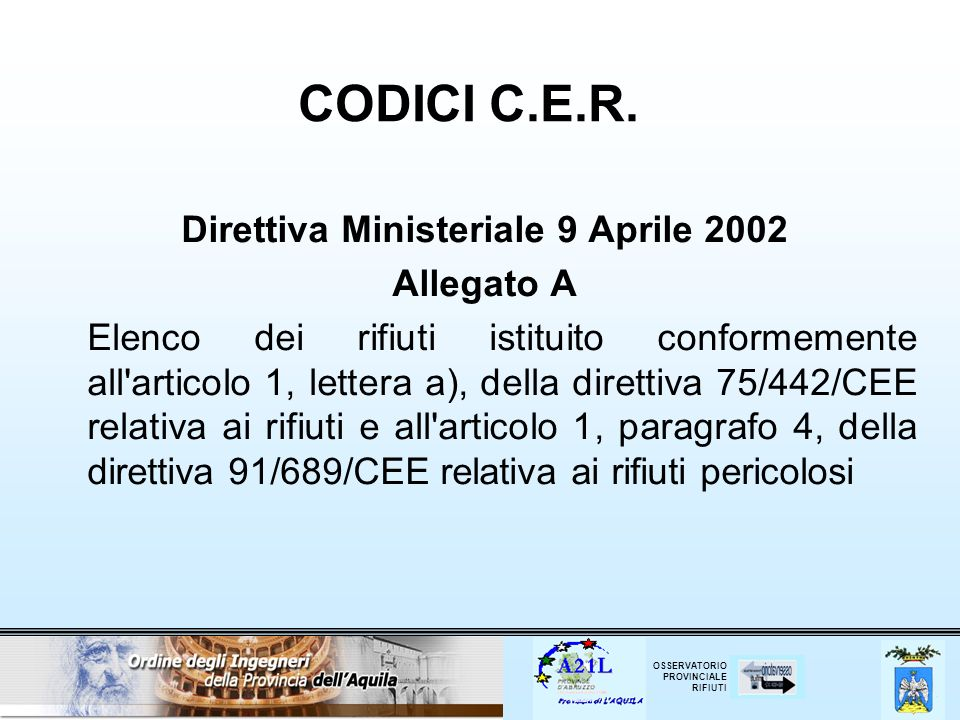 OSSERVATORIO PROVINCIALE RIFIUTI CODICI C.E.R. Direttiva Ministeriale 9 Aprile 2002 Allegato A Elenco dei rifiuti istituito conformemente all'articolo