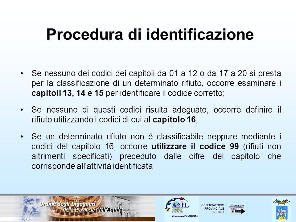 OSSERVATORIO PROVINCIALE RIFIUTI Procedura di identificazione Se nessuno dei codici dei capitoli da 01 a 12 o da 17 a 20 si presta per la classificazi
