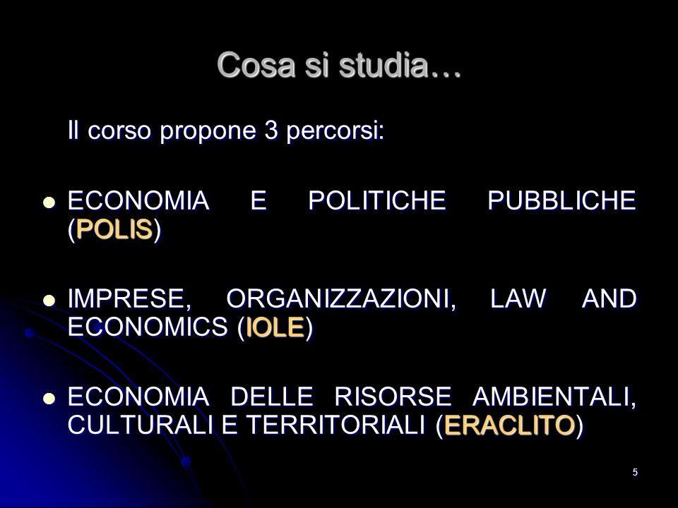 5 Cosa si studia… Il corso propone 3 percorsi: ECONOMIA E POLITICHE PUBBLICHE (POLIS) ECONOMIA E POLITICHE PUBBLICHE (POLIS) IMPRESE, ORGANIZZAZIONI,