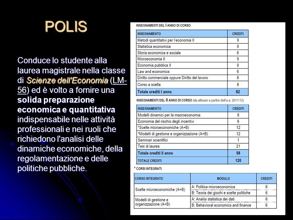 6 POLIS Conduce lo studente alla laurea magistrale nella classe di Scienze dell'Economia (LM- 56) ed è volto a fornire una solida preparazione economi