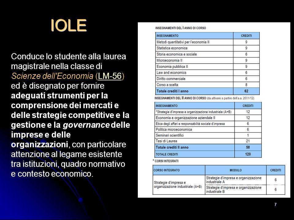 7 IOLE Conduce lo studente alla laurea magistrale nella classe di Scienze dell'Economia (LM-56) ed è disegnato per fornire adeguati strumenti per la c