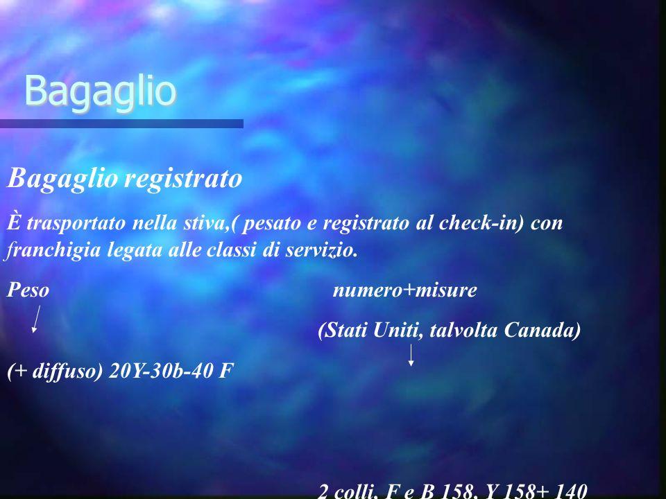 Bagaglio Bagaglio registrato È trasportato nella stiva,( pesato e registrato al check-in) con franchigia legata alle classi di servizio. Peso numero+m