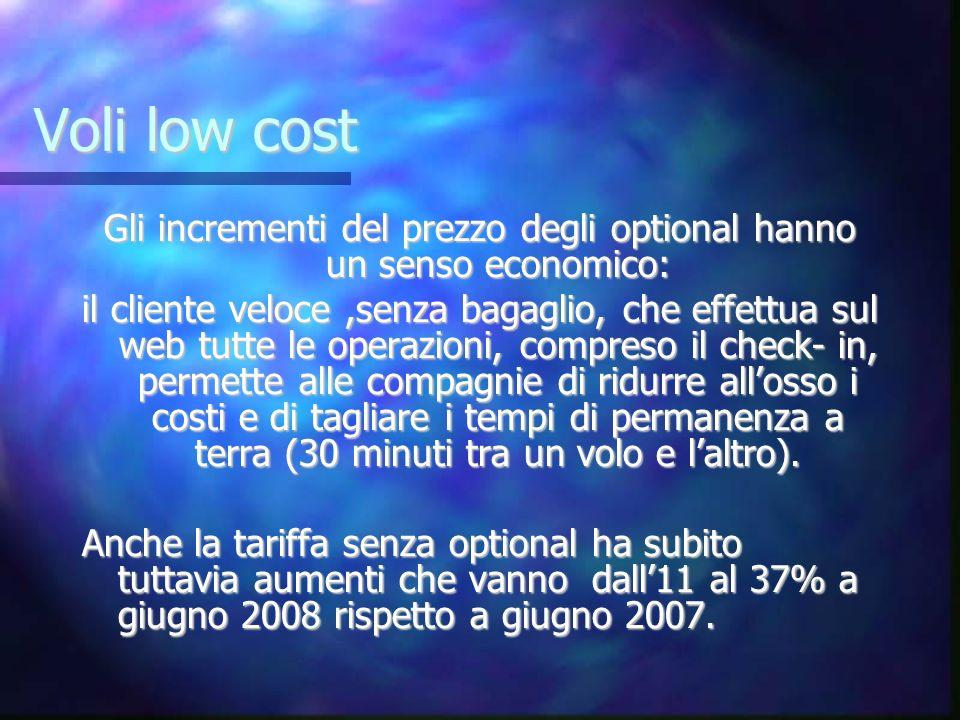 Voli low cost Gli incrementi del prezzo degli optional hanno un senso economico: il cliente veloce,senza bagaglio, che effettua sul web tutte le opera