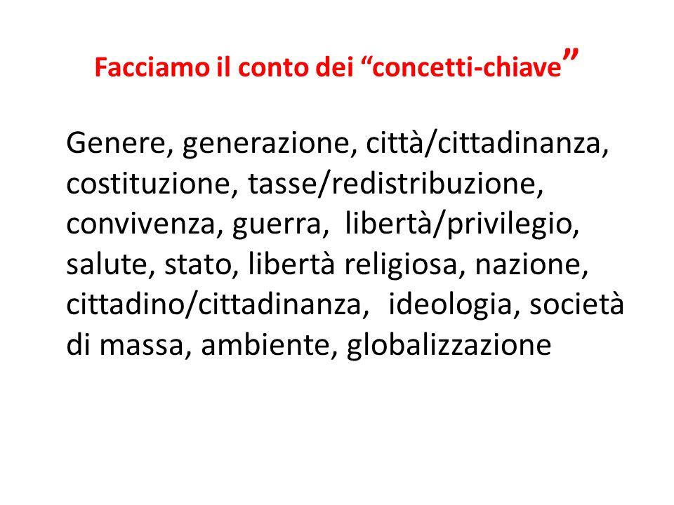 Facciamo il conto dei concetti-chiave Genere, generazione, città/cittadinanza, costituzione, tasse/redistribuzione, convivenza, guerra, libertà/privil