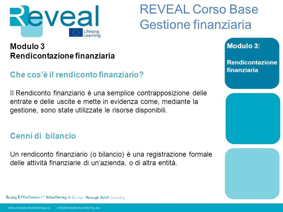 Modulo 3: Rendicontazione finanziaria REVEAL Corso Base Gestione finanziaria Modulo 3 Rendicontazione finanziaria Che cosè il rendiconto finanziario?