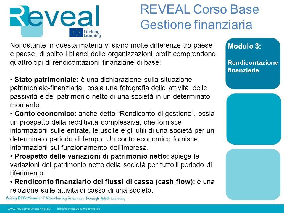 Modulo 3: Rendicontazione finanziaria REVEAL Corso Base Gestione finanziaria Nonostante in questa materia vi siano molte differenze tra paese e paese,