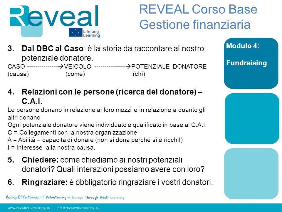Modulo 4: Fundraising REVEAL Corso Base Gestione finanziaria 3.Dal DBC al Caso: è la storia da raccontare al nostro potenziale donatore. CASO --------