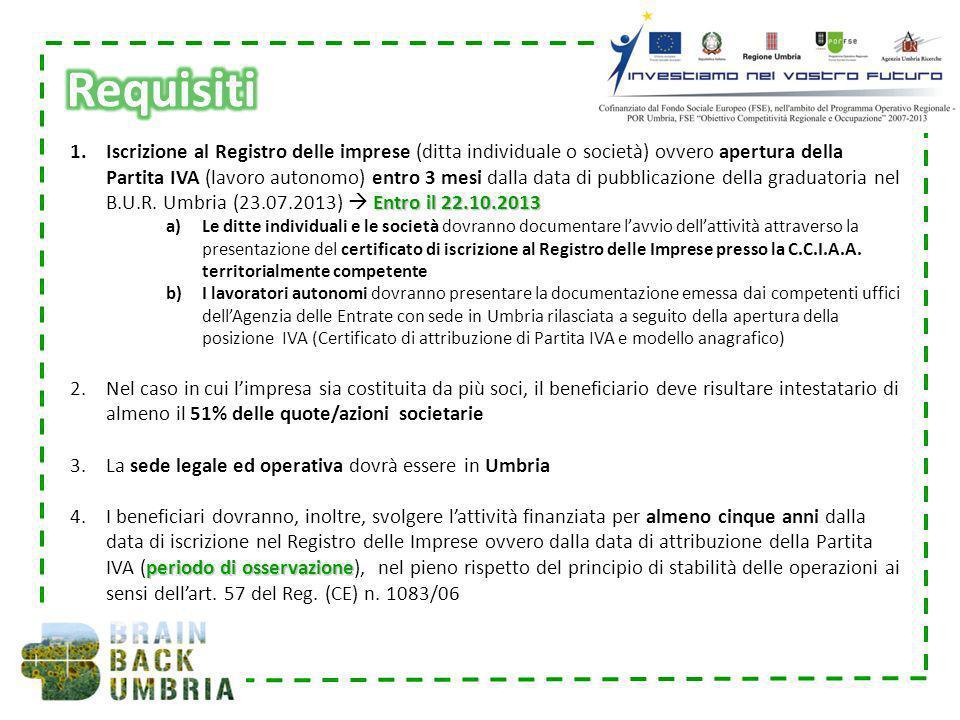 Entro il 22.10.2013 1.Iscrizione al Registro delle imprese (ditta individuale o società) ovvero apertura della Partita IVA (lavoro autonomo) entro 3 m