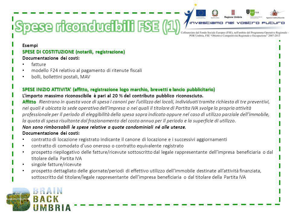 Esempi SPESE DI COSTITUZIONE (notarili, registrazione) Documentazione dei costi: fatture modello F24 relativo al pagamento di ritenute fiscali bolli,