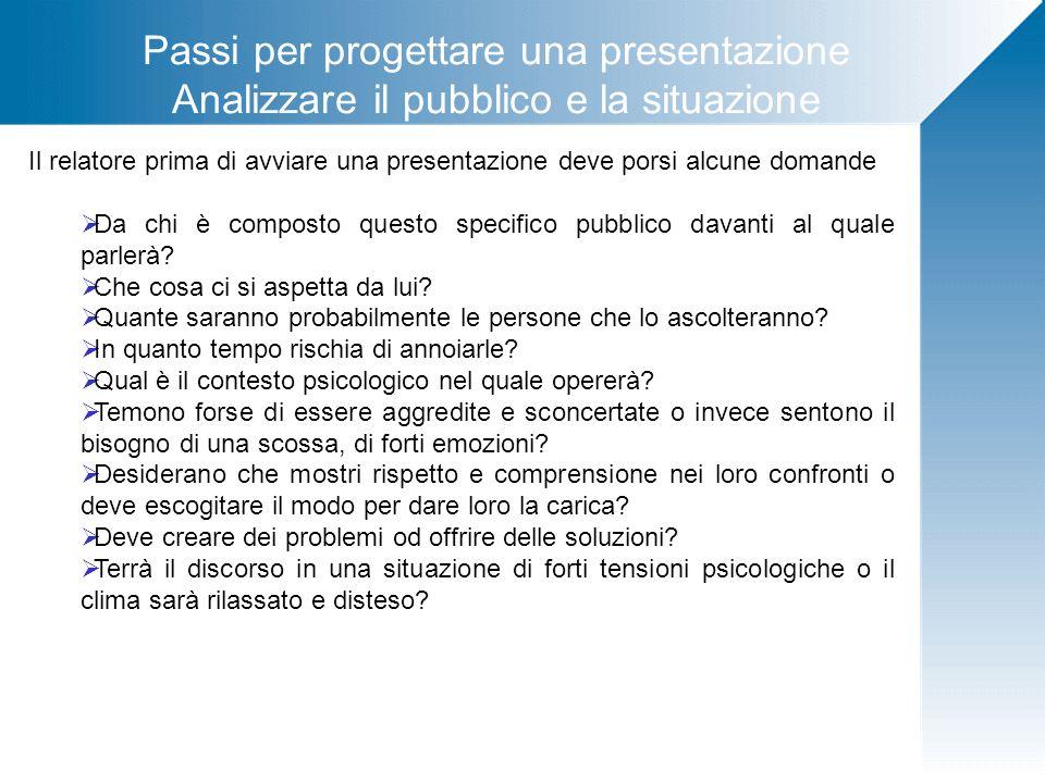 Passi per progettare una presentazione Analizzare il pubblico e la situazione Il relatore prima di avviare una presentazione deve porsi alcune domande