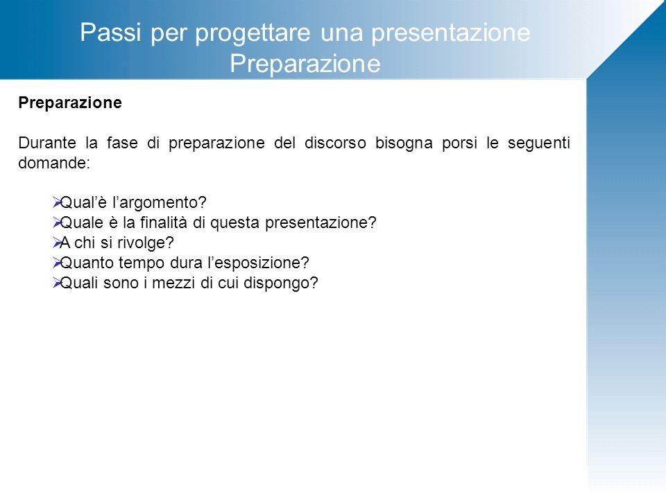 Passi per progettare una presentazione Preparazione Durante la fase di preparazione del discorso bisogna porsi le seguenti domande: Qualè largomento?