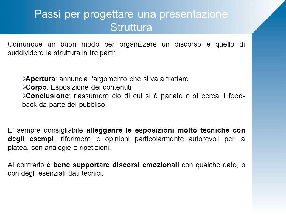 Passi per progettare una presentazione Struttura Comunque un buon modo per organizzare un discorso è quello di suddividere la struttura in tre parti: