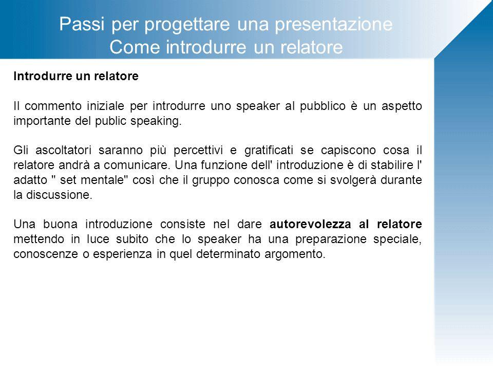 Passi per progettare una presentazione Come introdurre un relatore Introdurre un relatore Il commento iniziale per introdurre uno speaker al pubblico