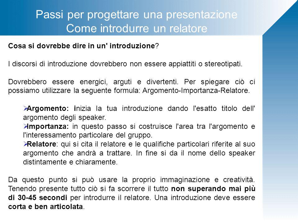 Passi per progettare una presentazione Come introdurre un relatore Cosa si dovrebbe dire in un' introduzione? I discorsi di introduzione dovrebbero no