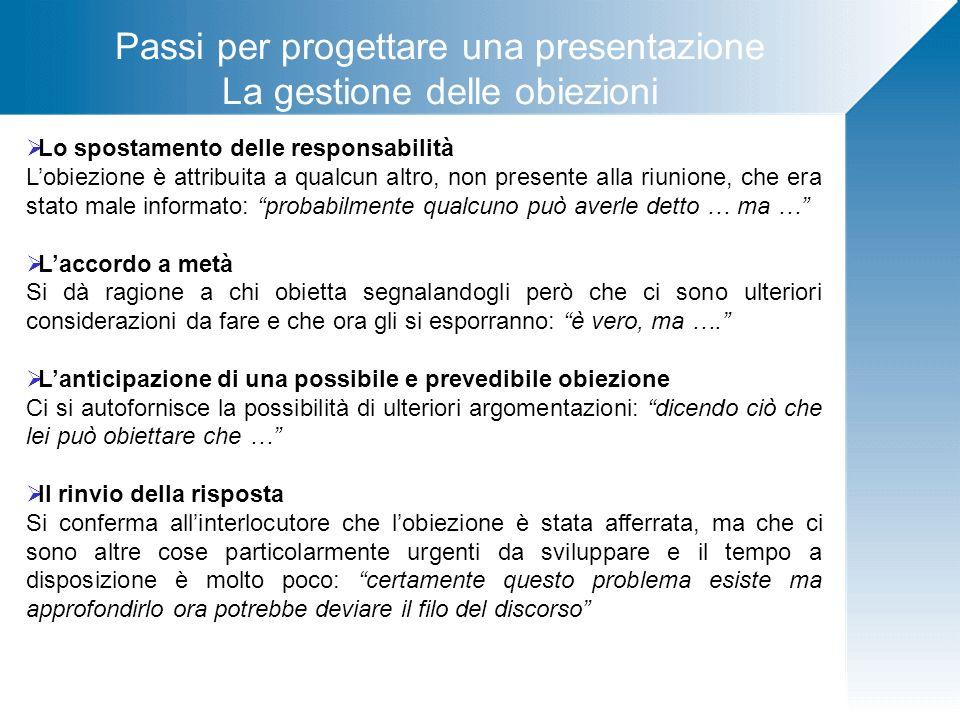 Passi per progettare una presentazione La gestione delle obiezioni Lo spostamento delle responsabilità Lobiezione è attribuita a qualcun altro, non pr
