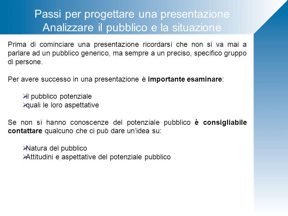 Passi per progettare una presentazione Analizzare il pubblico e la situazione Il relatore prima di avviare una presentazione deve porsi alcune domande Da chi è composto questo specifico pubblico davanti al quale parlerà.